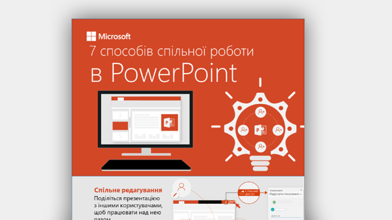 Інфографіка із сімома способами спільної роботи в PowerPoint