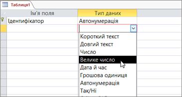 """Пункт """"Велике число"""" в списку типів даних"""
