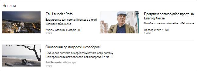 """Screencap веб-частини """"Новини"""" на сайті SharePoint, де були відфільтровані повідомлення"""