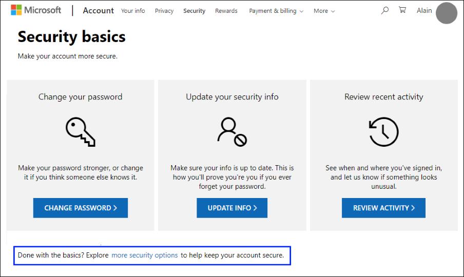 """Сторінка основи безпеки з виділеним посиланням """"Додаткові параметри безпеки"""""""