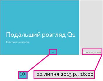Додавання дати, часу та номерів слайдів