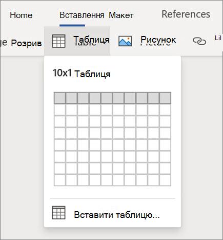 Вставлення таблиць у Word для Інтернету
