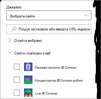 Вибір сайтів