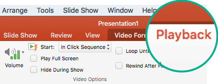 """Виберіть відеозапис на слайді, і на панелі інструментів стрічки з'явиться вкладка """"Playback"""" (Відтворення), де можна налаштувати відтворення відео."""