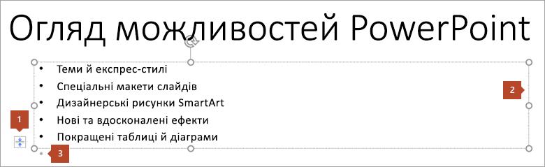 Слайд із покажчиком місця заповнення тексту