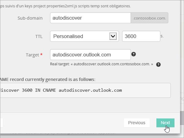 Значення додавання запису CNAME і кнопка Next (Далі) на сайті OVH_C3_201752910115