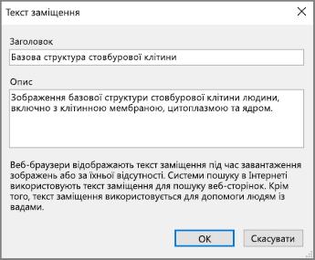 """Знімок екрана: діалогове вікно """"Текст заміщення"""" в програмі OneNote із прикладом тексту в полях """"Заголовок"""" і """"Опис"""""""