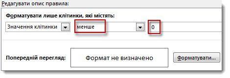 Вікно редагування правила умовного форматування