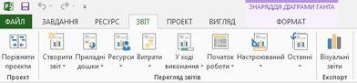 """вкладка """"звіти"""" в програмі project2013"""