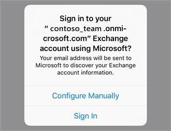 """Натисніть кнопку """"Увійти"""", якщо використовуєте Office365, або """"Налаштувати вручну"""", щоб ввести параметри сервера організації."""