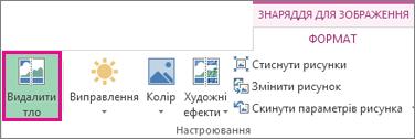кнопка ''видалення тла'' у групі ''настроювання'' на вкладці ''формат'' у розділі ''знаряддя для зображення''