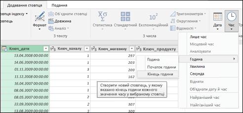 Power Query: видобування значення початку чи кінця години зі стовпця дати й часу або стовпця часу в редакторі запитів