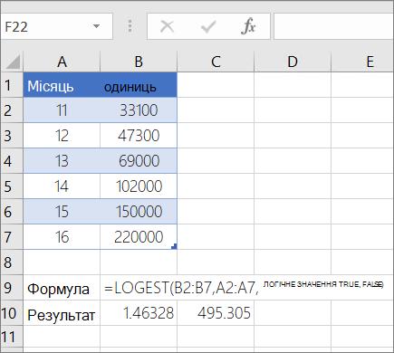 Приклад 1 – функція LOGEST