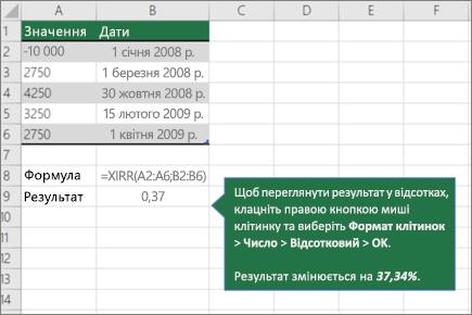Приклад Функція XIRR