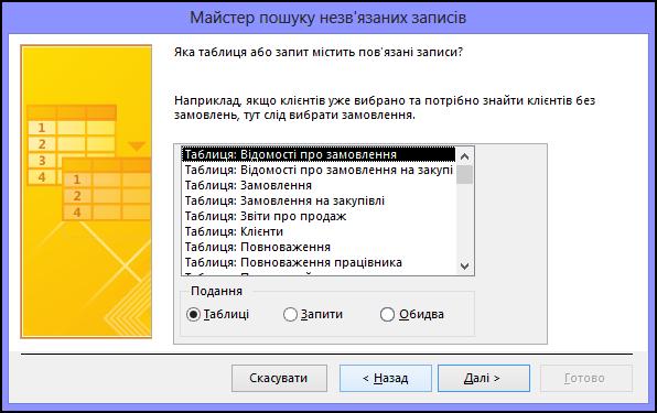 Виберіть таблицю або запит, які містять зв'язані записи, у діалоговому вікні майстра пошуку незв'язаних записів