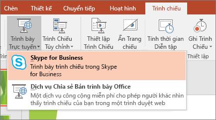 Hiển thị tùy chọn để trình bày trực tuyến trong PowerPoint