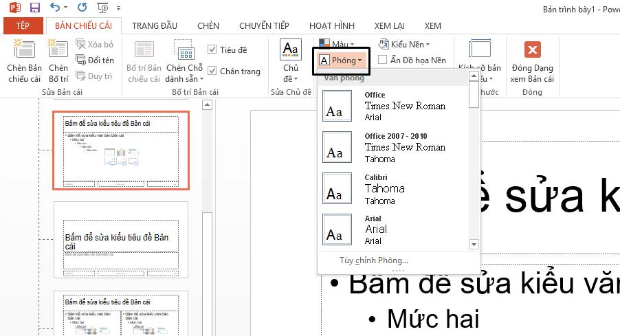 Từ menu thả xuống phông chữ, bạn có thể chọn phông chữ mà bạn muốn.