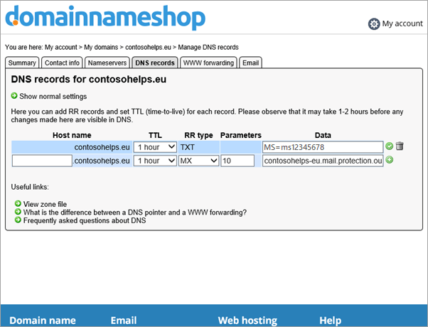 Bản ghi MX trong Domainnameshop