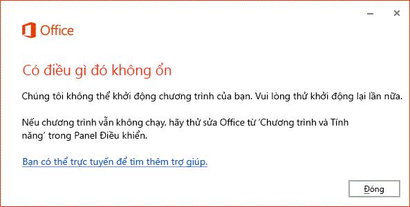 """Lỗi """"Đã xảy ra lỗi"""" khi mở ứng dụng Office"""