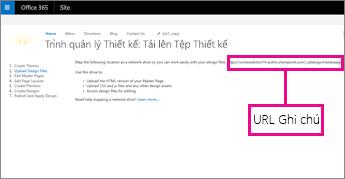 Trong Trình quản lý Thiết kế Office 365, sao chép hoặc ghi chú URL
