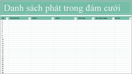 Hình ảnh khái niệm về bảng tính danh sách phát nhạc