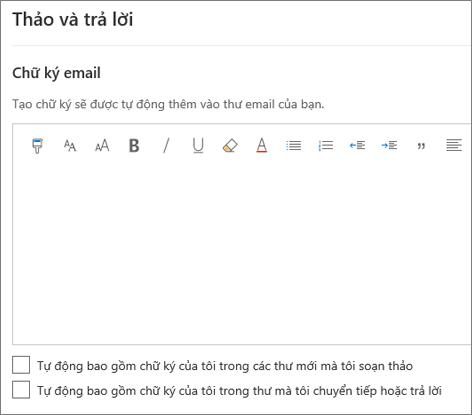 Tạo chữ ký email trong Outlook trên web