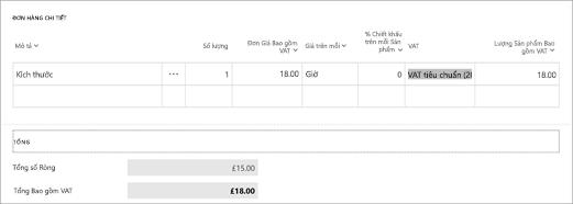 Ảnh chụp màn hình: Tính toán VAT trong Microsoft hóa đơn