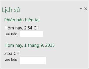 Ngăn Lịch sử trong Excel 2016 cho Windows