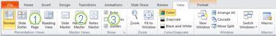 Tab Dạng xem trong ribbon PowerPoint 2010.