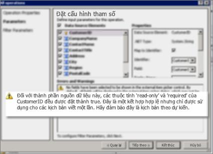 Ảnh chụp màn hình 2 của hộp thoại Tất cả các Hoạt động trong SharePoint Designer. Trang này hiển thị cảnh báo để giải thích thiết đặt cho các thuộc tính chính yếu trong danh sách.
