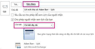 Lời mời chia sẻ email hộp thư trong phạm vi nội bộ - Hộp Tới và thiết đặt Chi tiết