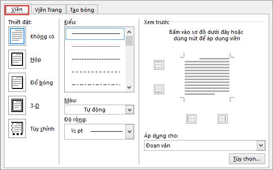 Hộp thoại Viền và Màu nền trong Word 2010