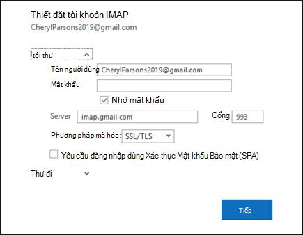 Chọn thiết đặt máy chủ để thay đổi thiết đặt người dùng tên, mật khẩu và máy chủ của bạn.