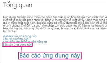 Nối kết Báo cáo Ứng dụng Này trong Office Store