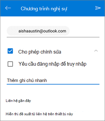 Ảnh chụp màn hình hoạt động mời mọi người chia sẻ tệp từ OneDrive for Android