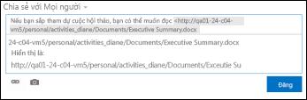 URL tài liệu được dán vào bài đăng trong nguồn cấp tin tức
