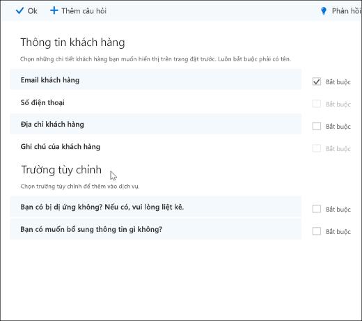 Ảnh chụp màn hình: Hiển thị người quản trị tạo tùy chỉnh các câu hỏi.