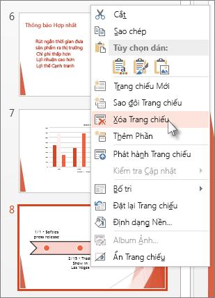 Bấm chuột phải vào hình thu nhỏ của trang chiếu trong PowerPoint và bấm Xóa Trang chiếu.