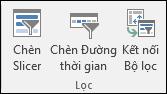 Chèn Slicer tùy chọn từ công cụ PivotTable > phân tích > bộ lọc
