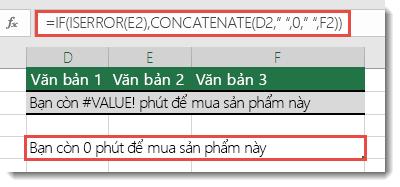 Nếu và các hàm ISERROR được dùng như một giải pháp thay thế để ghép nối một chuỗi với #VALUE! .