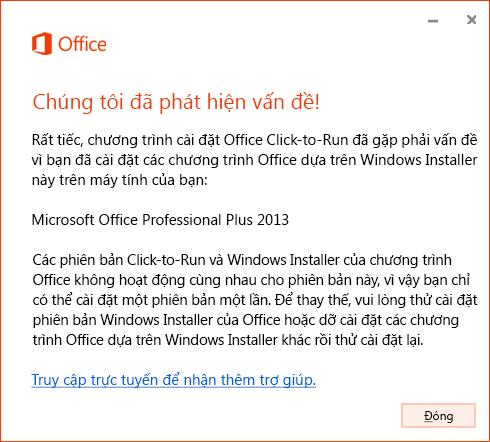 Lỗi khi cố gắng cài đặt Click-to-Run trên bản cài đặt MSI