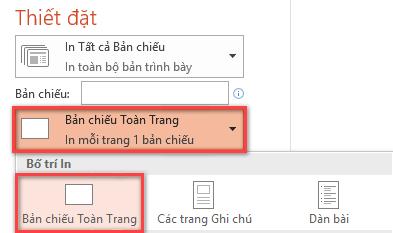 Trong ngăn In, bấm vào Trang chiếu toàn trang, rồi chọn Trang chiếu toàn trang từ danh sách Bố trí in.