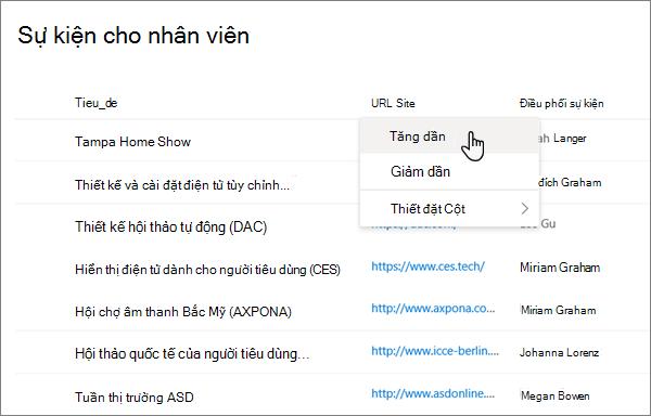 Từ menu tiêu đề cột ở dạng xem danh sách, tùy chọn sắp xếp được chọn trong trải nghiệm SharePoint hiện đại