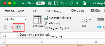 Hiển thị bảng tính Excel