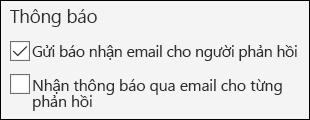 Tùy chọn để gửi email thông báo cho người trả lời biểu mẫu trong Microsoft Forms