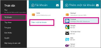 Trang menu của Windows 8 Mail: Thiết đặt > Tài khoản > Thêm Tài khoản