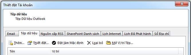 Tab Tệp Dữ liệu hiển thị tất cả tài khoản của bạn.