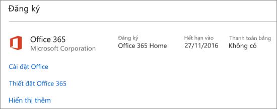 Nếu bản dùng thử Office 365 đã được cài đặt trên PC mới của bạn, bản dùng thử này sẽ hết hạn vào ngày hiển thị