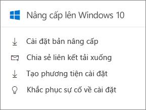 Windows 10 nâng cấp thẻ trong Trung tâm quản trị.