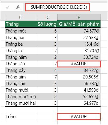 Công thức trong ô E15 hiển thị lỗi #VALUE! vì có lỗi #VALUE! ở cột E.
